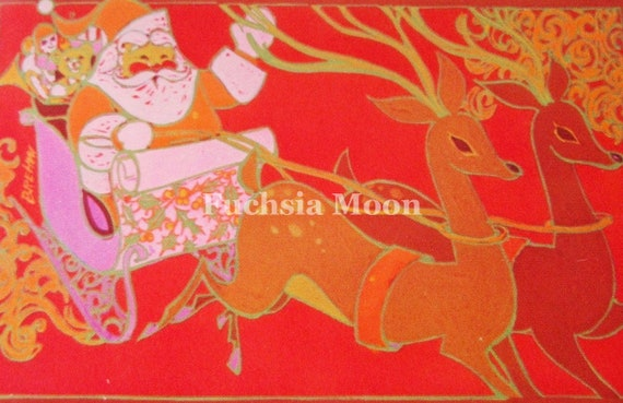 DIGITAL DOWNLOAD Sweetest Vintage Mid Century Modern Santa & Reindeer Christmas Greeting Card Image