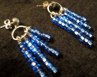 Sapphire Blue Waterfall Earrings
