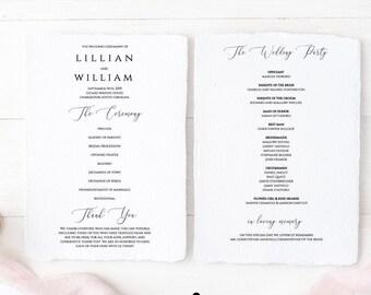 8.5x11 INSTANT DOWNLOAD, Editable Wedding Program, Printable, Instant Download, Wedding Program Template, Templett, Wedding Ceremony