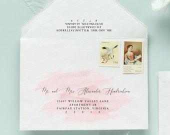 INSTANT DOWNLOAD, Instant Edit, Envelope Addressing Template, Digital Calligraphy, Calligraphy Template, Envelope Addressing, blush pink