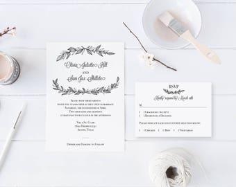 Black and White Twigs and Brush Wedding Invitation