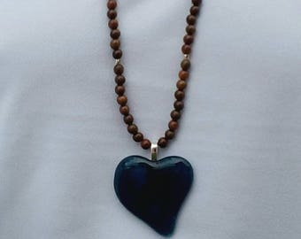 Long Wood and Teal Heart Glass Necklace