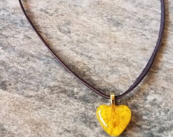 Yellow Glass Heart Necklace