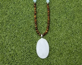 Long White Glass Pendant & Aqua Beaded Necklace