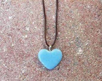 Winter Blue Heart Glass Necklace