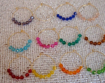 12 Wine Charms on Gold Plated Hoops