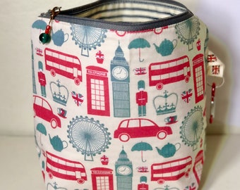 knitting project bag for knitting craft bag for crochet bag retro London bag gifts for knitting - RETRO LONDON