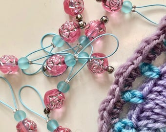 stitch markers for knitting markers for lace knitting  retro knitting notions pink markers gifts for knitters ROSE BON BON