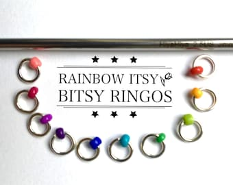 Ringos for knitting Stitch markers for sock knitting markers sock markers ringos  rainbow  MINI ringos knitting stitch markers  ITSY BITSY