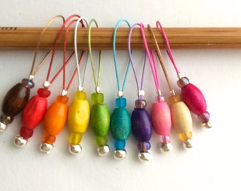 Knitting stitch markers for knitting  snag free rainbow markers  - COLOUR WOOD PIPS