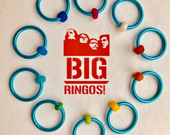 Ringos for Knitting stitch markers for knitting snag free  ringos big knitting  retro LARGE O-rings, snag free, RETRO POOL