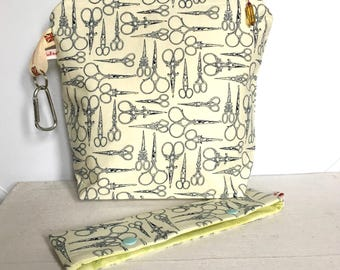 Knitting bag for knitting projects crochet bag crafts sewing bag - LITTLE SEAMSTRESS