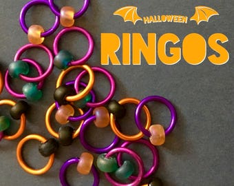 ringos for knitting Knitting stitch markers  ringos lace markers sock knitting markers notions retro gifts  - HALLOWEEN RINGOS