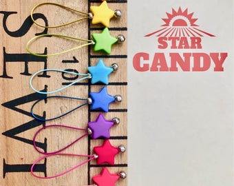 Stitch Markers for knitting stitch markers notions stars retro gifts  rainbow knitting - STAR CANDY