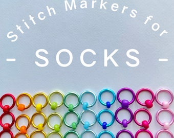 Sock knitting markers  -  RAINBOW RINGS