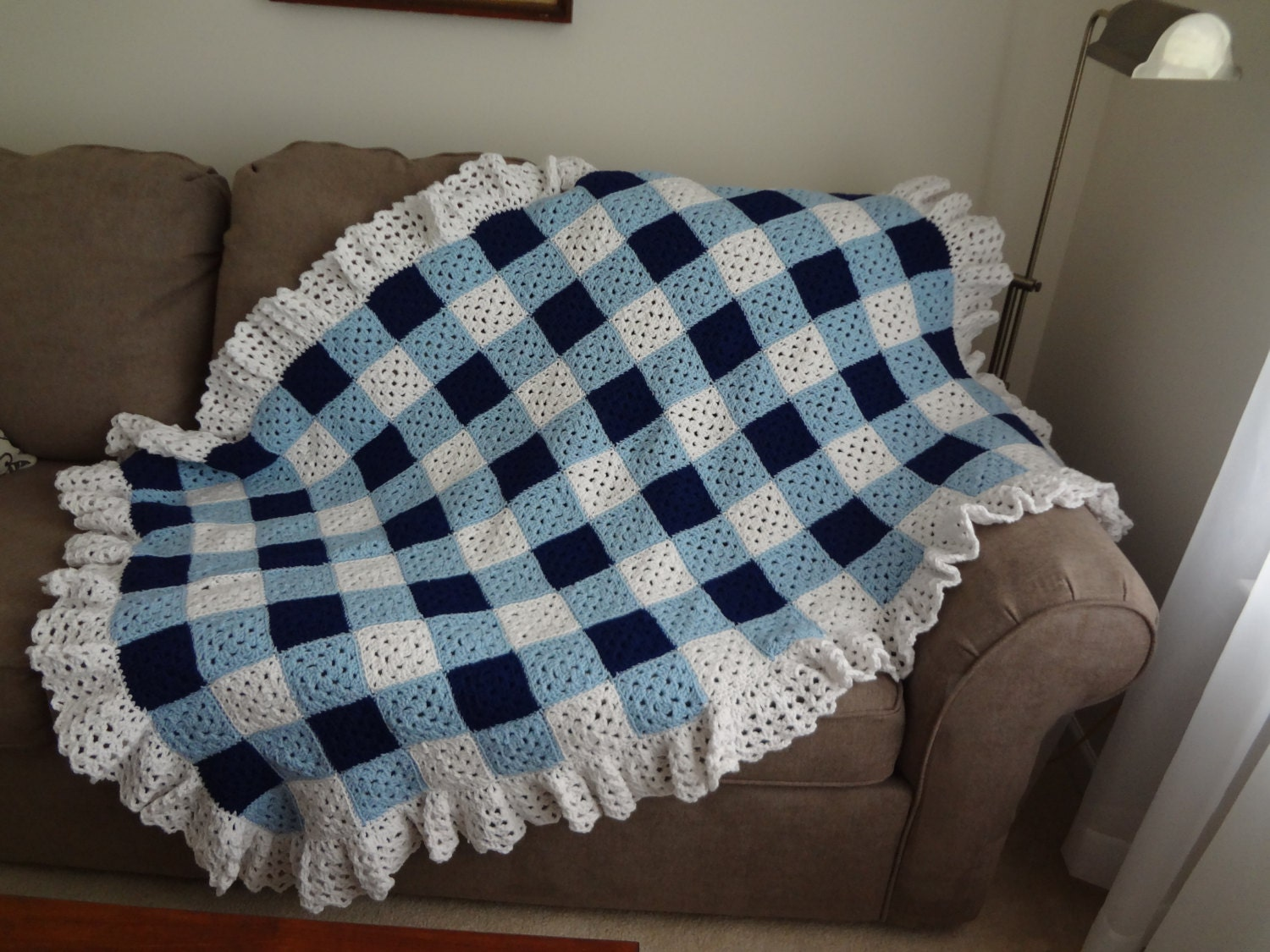 Granny Square Crochet Navy Blue And White Gingham Afghan