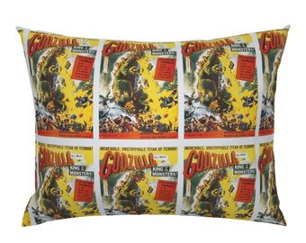 Godzilla Movie Poster Standard Pillow Sham, Knife Edge or Flanged, 100% Cotton,  Custom Printed Vintage Godzilla Print
