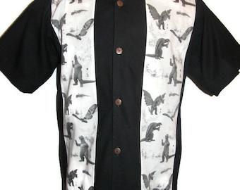 Godzilla, Mothra, King Ghidorah, and Gamera Mens Shirt Size small to 6XL , Godzilla Toile print 100% Cotton Panel Shirt Custom Made to order