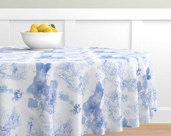 Big Trouble in Little China Round Tablecloth, Dining Linens Choose your size 70 - 90 inch, 100% Cotton Sateen, Custom Printed