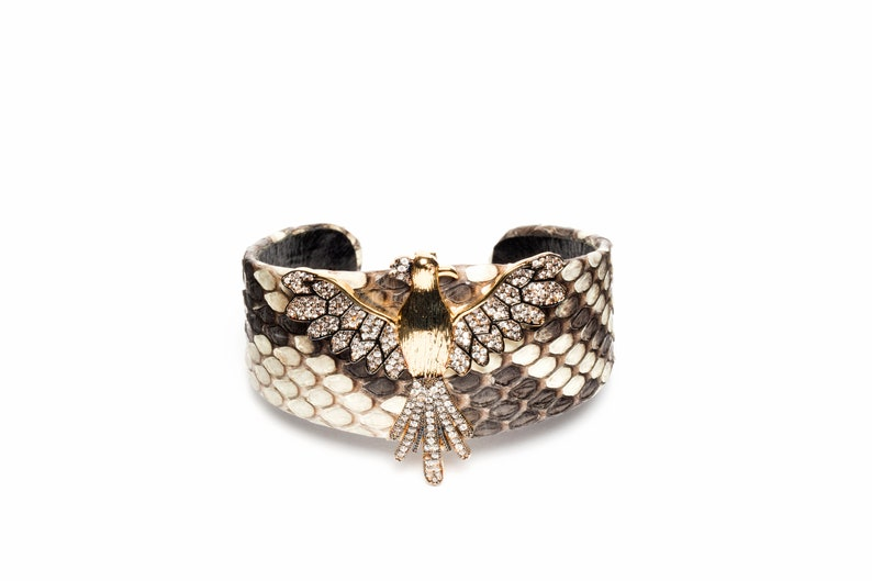 Naz Collection Pave Cubic Zirconia Phoenix Gunmetal and Gold Tone Snake Skin Cuff Bracelet