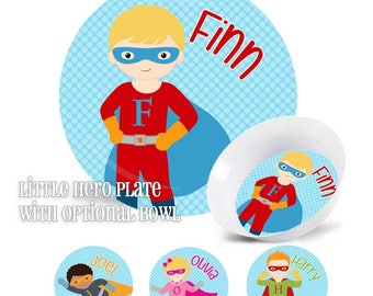 Super Personalized Kids Cape Hero Plate And Bowl