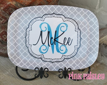 Monogram Melamine Platter | Personalized Serving Platter | Monogrammed Serving Tray | Bridal Shower Gift
