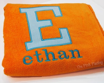 Monogram Beach Towel   Block Style Appliqué Beach Towel   Initial Beach Towel
