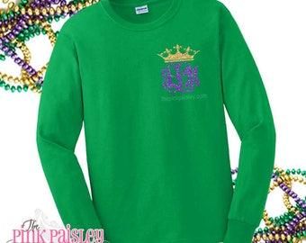 Monogram Mardi Gras Shirt | Long Sleeve Mardi Gras | Ladies Mardi Gras Shirt | Monogrammed Shirt