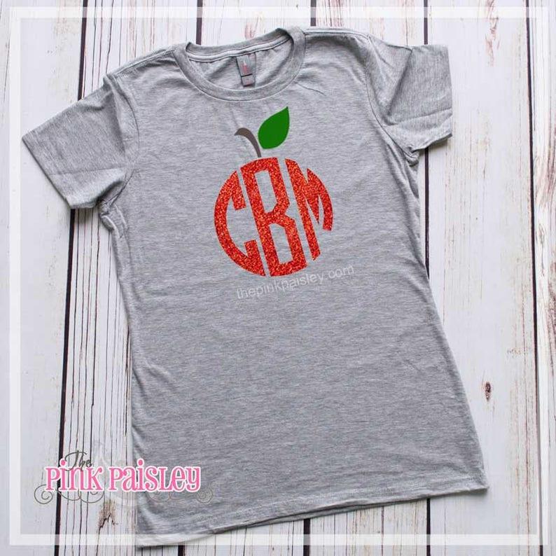 52e042936 Teacher Monogram Shirt Personalized Teacher Apple Monogram
