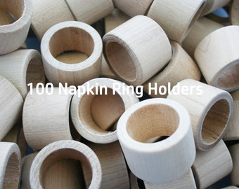 50 Unfinished Wood Napkin Ring Holder Wedding Napkin Rings Etsy