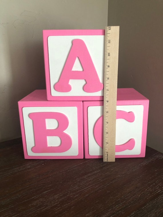 1 6 Inch Large Baby Blocks Baby Block Letters Baby Shower Etsy