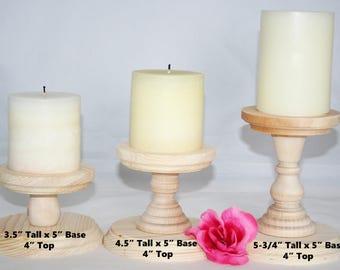 Smaller Unfinished Wooden Pillar Candlestick Holders, Candlestick Holders, Wedding Table Candlestick Holders, Rustic Candlestick Holder