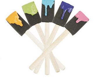 "10- 1"" Foam Brushes Smooth Wooden Handles, Paint Applicator, Paint Brush, Craft Brush,"