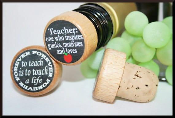 teacher wine stopper teacher appreciation gift end of the etsy