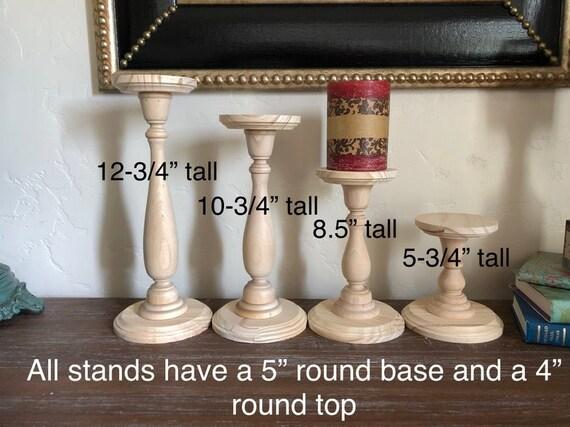 Wood Pillar Candlestick Holders Diy Wedding Accents Home Decor Tall Candlestick Holders Wedding Table Candlestick Holders Various Sizes