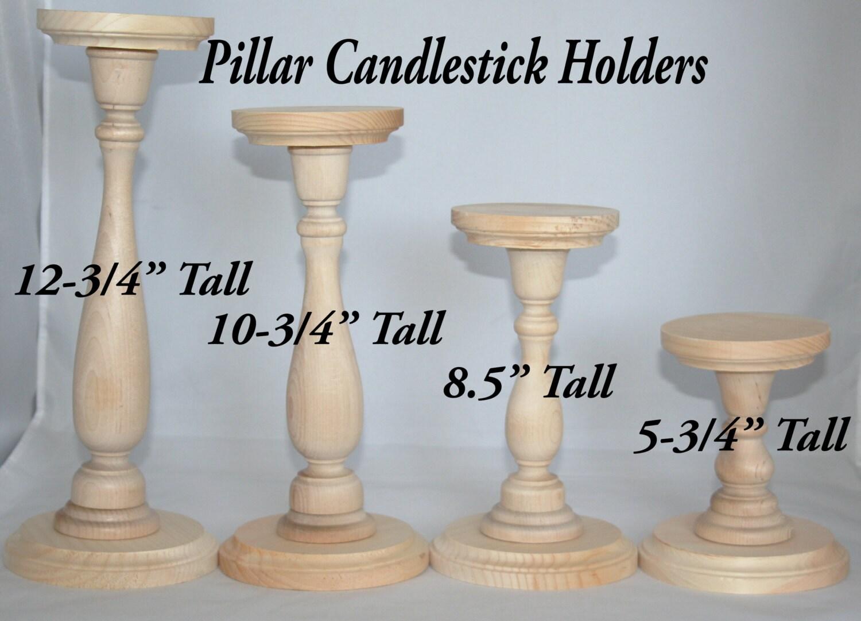 Wood pillar candlestick holders etsy