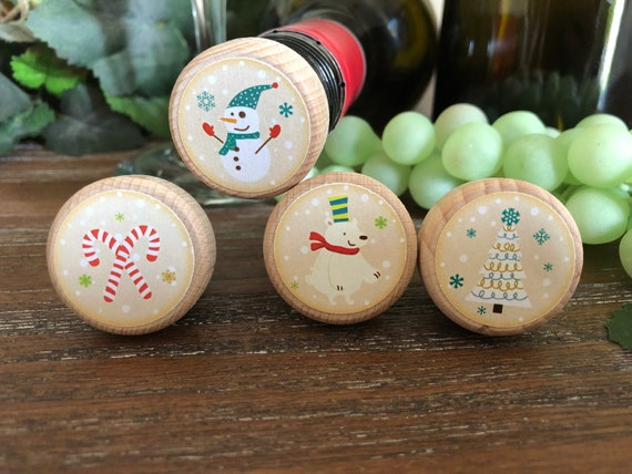 Christmas Wine Stoppers.Christmas Themed Wine Stoppers Wine Corks Holiday Wine Stopper Christmas Wine Christmas Gift Stocking Stuffers Gifts Under 5
