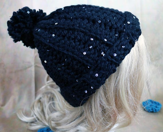 Black Sparkle Glam Sequins Chunky Pom Pom Beanie Hat with  5c79f2f56b2