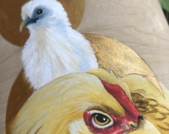 Chicken Saints - Ophelia and her baby - strange saints: Madonna and Child - giclee print hand-embellished with gold