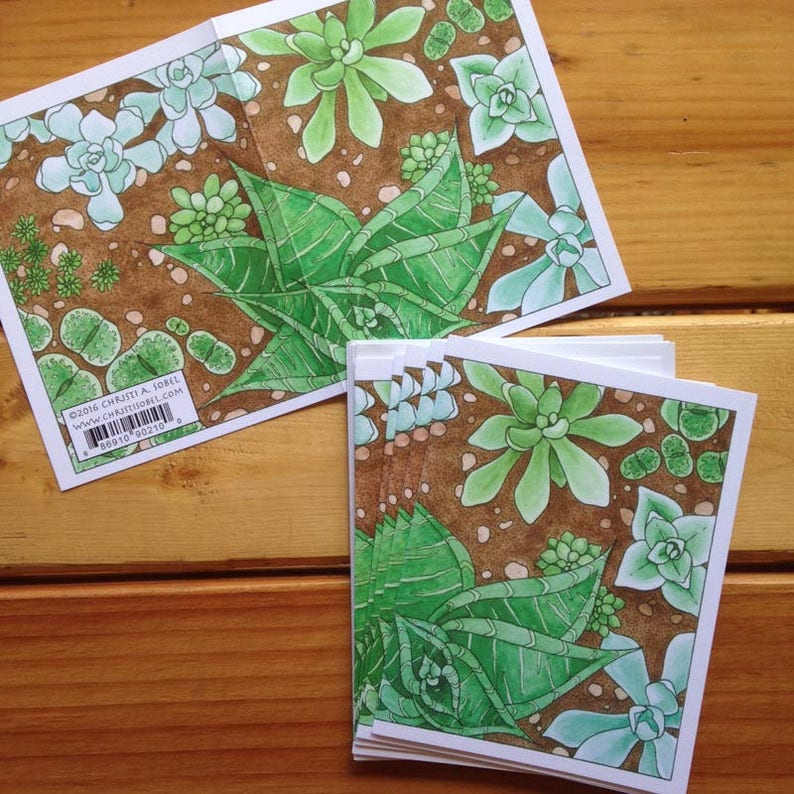 6 blank cards succulents!