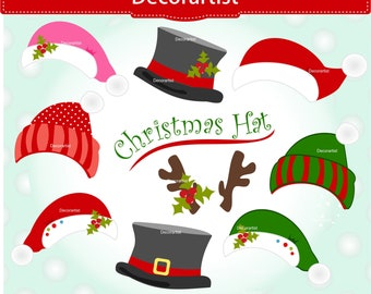 santa hat clip art etsy. Black Bedroom Furniture Sets. Home Design Ideas
