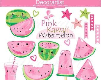ON SALE Kawaii Watermelon Clip Art _ Summer Pink watermelon Clipart / fruit melon / Kawaii Fruit / Cute Fruit Clipart / Happy Fruit Clip Art