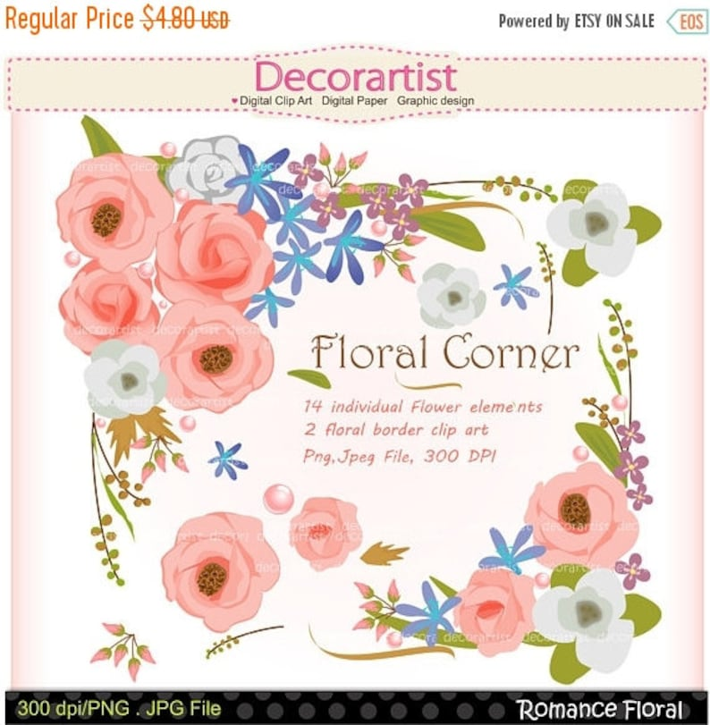 On Sale Flowers Frame Clipart Floral Border Clipart Etsy