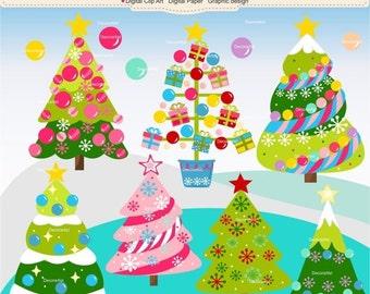 ON SALE Christmas clipart, Christmas tree clipart,christmas decoration clipart, pink christmas clipart, christmas girl clipart, instant