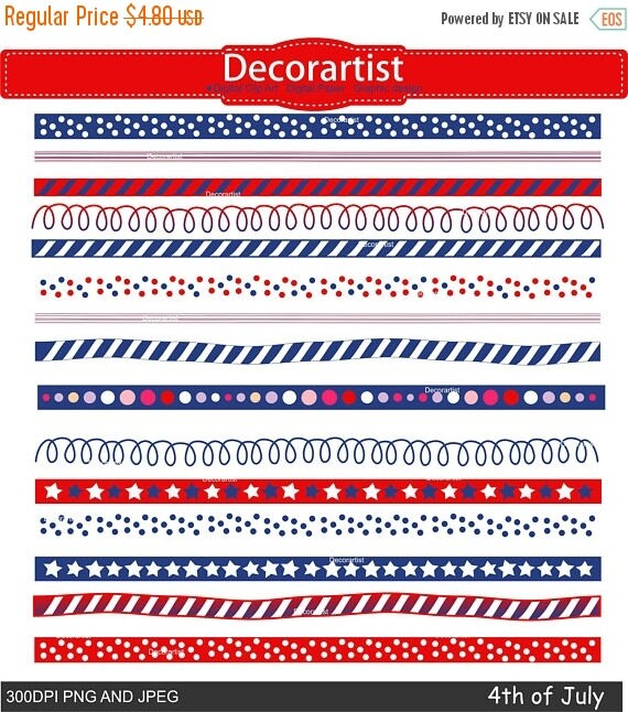 ON SALE 4th of july day border clipart. Independence day ...