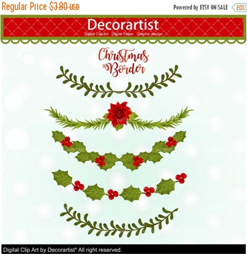 On Sale Christmas Garland Clip Art Christmas Border Clip Art Christmas Banner Clip Art Scrapbook Printable Digital Clipart Instant Downlo