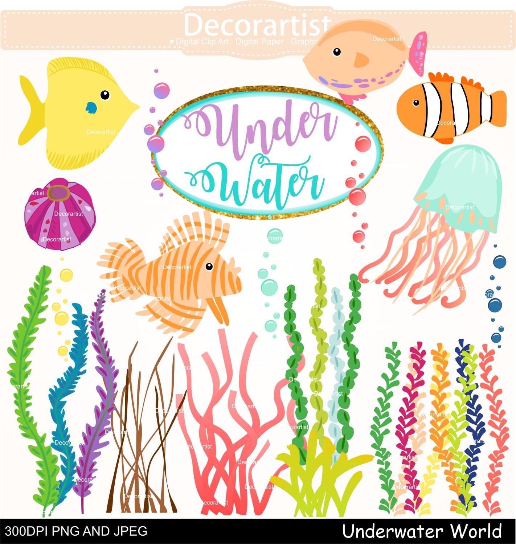 ZUM Verkauf: Sommer unter Wasser Welt Clipart Clipart Fische   Etsy