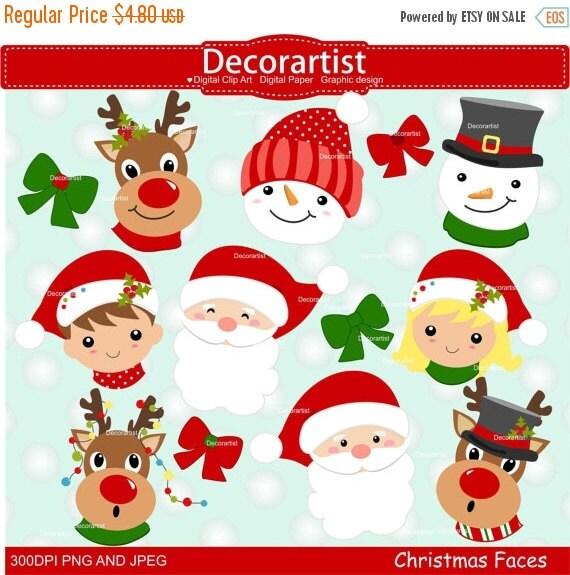 Christmas Clipart Santa.Christmas Clipart Santa Claus Faces Clipart Christmas Faces Clipart Snowman Faces Clipart Instant Download