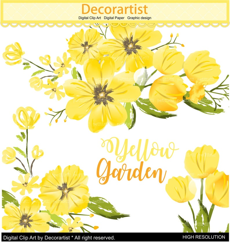 On Sale Flowers Clipart Flower Border Clipart Yellow Flowers Etsy