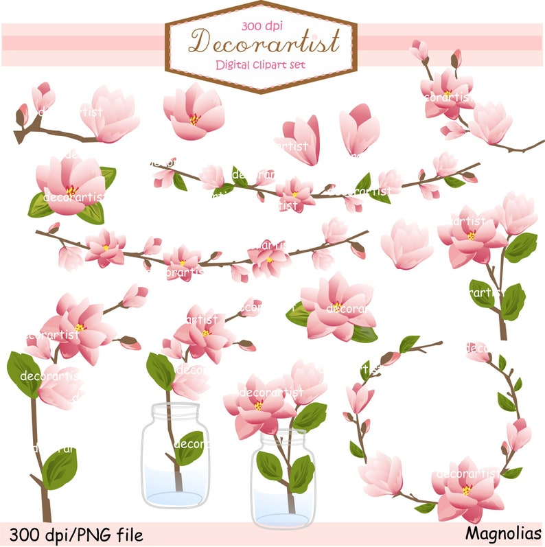 On Sale Pink Magnolia Clipart Pink Flowers Clip Art Flowers Etsy